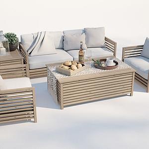 現代戶外沙發茶幾模型