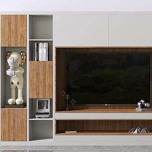 現代電視背景墻模型