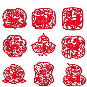 中式十二生肖剪紙墻飾模型