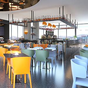 現代餐廳模型