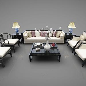 中式沙發茶幾模型