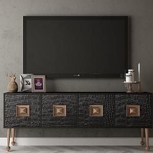 電視柜及背景墻模型