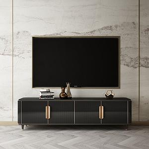家具飾品組合背景墻模型