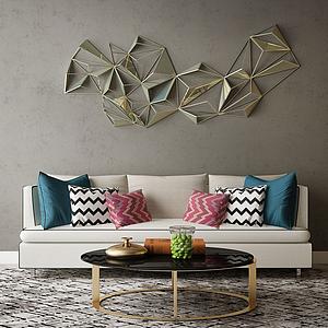 沙發背景墻模型