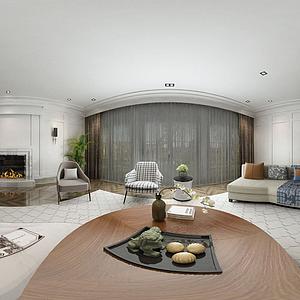 美式客廳模型