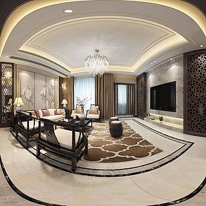 現代風格全景客廳模型