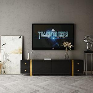 家具飾品組合電視墻模型