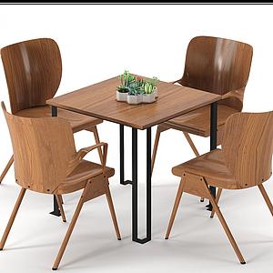 現代休閑桌椅模型