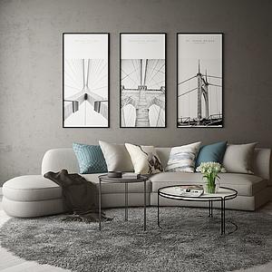 3d弧形沙發模型