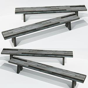 現代木長方凳模型