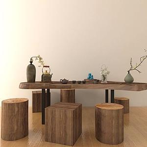 3d中式經典茶桌模型