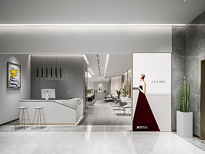 現代美發店發廊模型3d模型