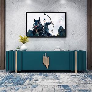 現代烤漆電視柜背景墻模型