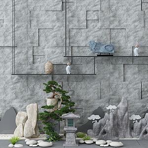 園林景觀假山背景模型