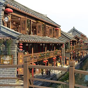 古建風格商業街模型