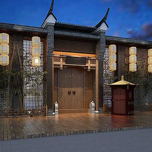 古典茶樓會館門頭招牌模型