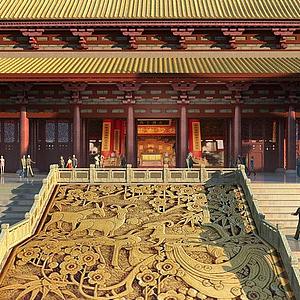 3d古建寺廟大殿模型