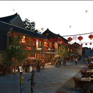 3d古建商業街模型