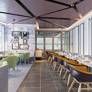 现代餐饮店3d模型