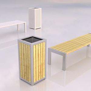 垃圾箱與凳子模型