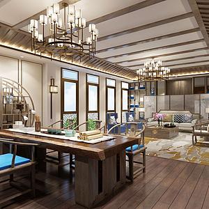 新中式風格的客廳模型