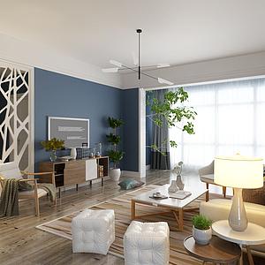 北歐風格客廳模型
