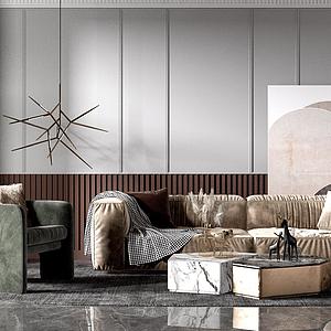 現代風格的組合沙發模型