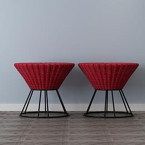 家具飾品組合沙發墩模型