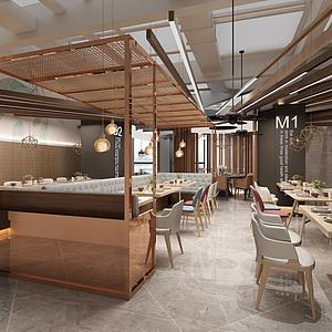 現代風格餐廳模型