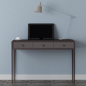3d家具飾品組合寫字臺模型