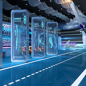現代科技航空展廳展館模型
