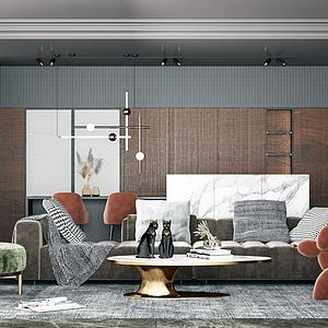 現代高級灰輕奢客廳模型