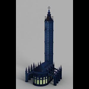 黑暗城堡動漫場景模型