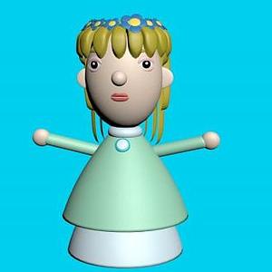 黃發女孩泥塑模型