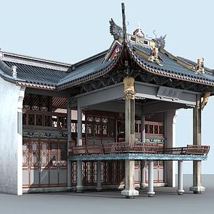 3d古建戲臺建筑模型