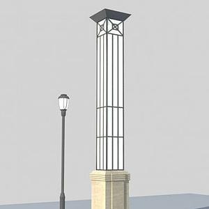 中式方形景觀燈模型