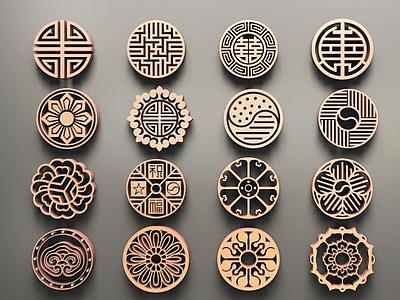 中式圓形雕花3d模型