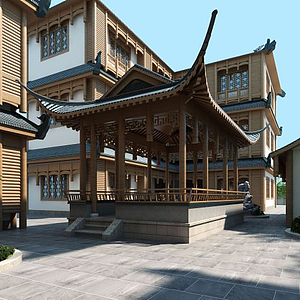 新中式客栈亭子建筑