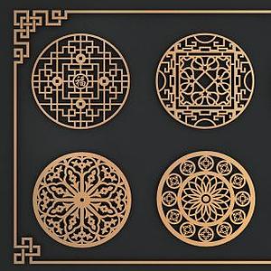 中式圓形鏤花窗模型