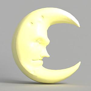游戲場景月亮裝飾造型模型