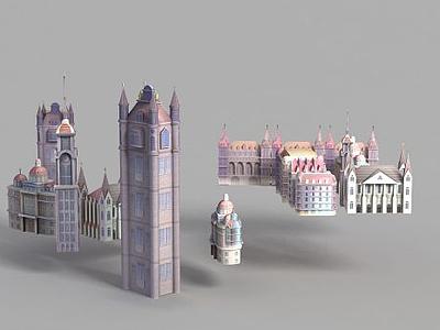 動漫城堡模型3d模型