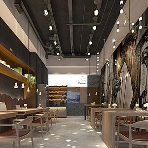 現代風格快餐店模型