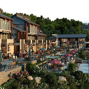 古建商業街模型