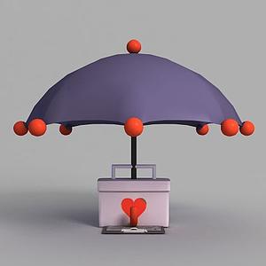 游戲場景雨傘裝飾模型