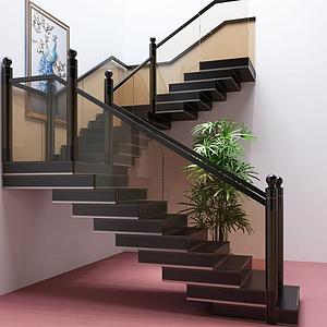 現代玻璃樓梯護欄閣樓樓梯模型