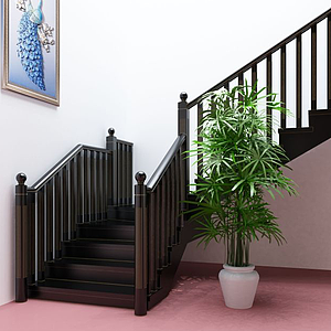 后現代黑金樓梯護欄樓梯模型