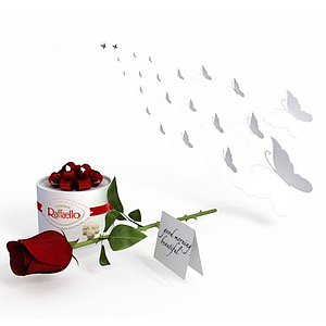 3d禮盒玫瑰模型