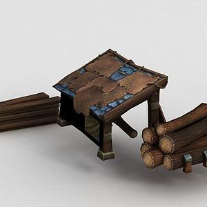 3d魔獸世界游戲木材木屋模型