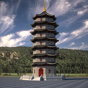 3d寺廟塔模型