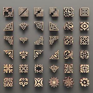 中式角花雕花鏤花組合模型